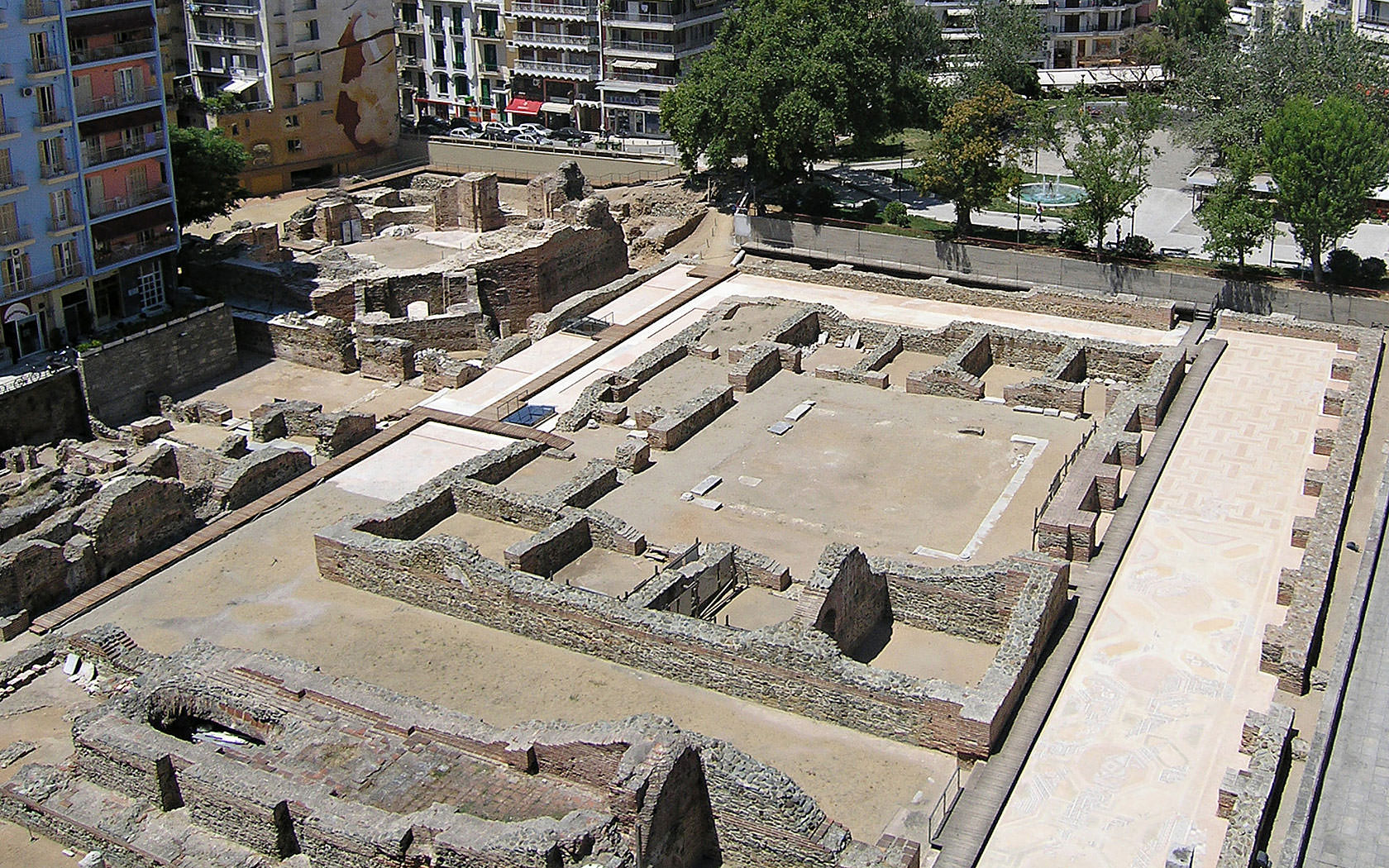 Archaelogical site of Navarinou Square. Palace building remains