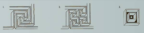 Decorative motifs in the mosaics floor of the west corridor. 1.Fret consisting of a swastika rendered in perspective 2. Fret consisting of a swastika with bent arms rendered in perspective 3.Perspective rendering of a square containing an open cube with a square at the bottom