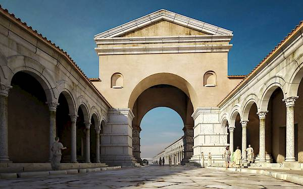 Arch of Galerius. Reconstruction, view from E.