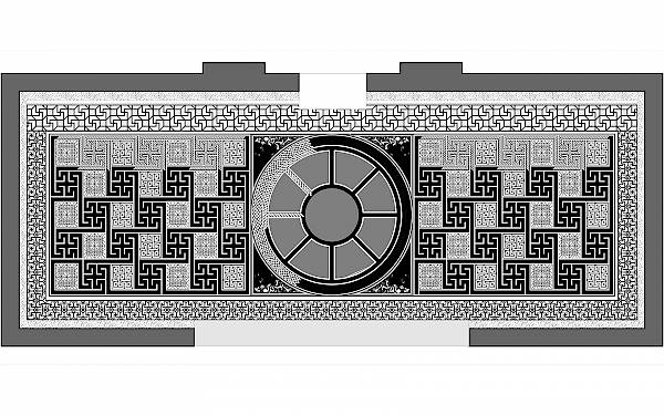 Arch of Galerius, vestibule. Plan with graphic reconstruction of the mosaic floor.