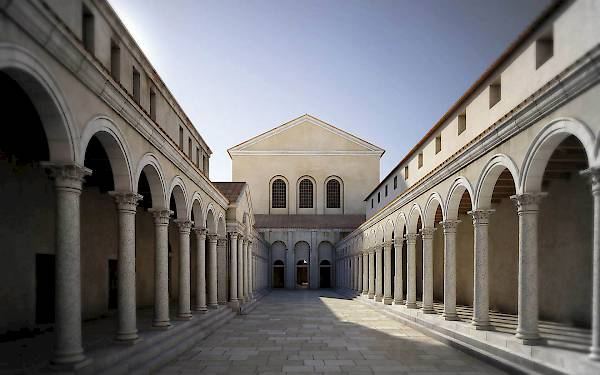 Bacilica, peristyle courtyard. Reconstruction.