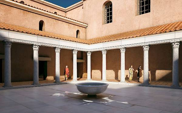 Central building complex, peristyle courtyard. Reconstruction, view from SE.