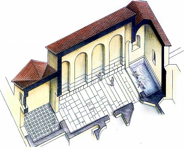 Baths, reception room (frigidarium). Axonometric section and graphic reconstruction.