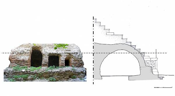 Hippodrome. Building remains on the west side. (Hippodromiou 7). East facade and section with graphical reconstruction.