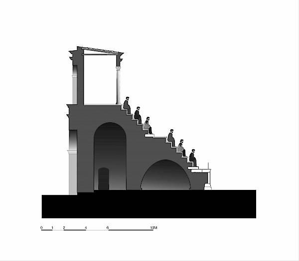 Hippodrome, section of the west side. Graphical reconstruction.