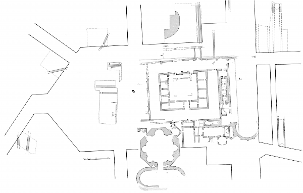 Archaeological research during the 1960s. Plan of the building remains of the Navarinou Square. (Archive of the Ephorate of Antiquities, Thessaloniki)